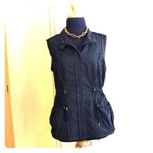ELIE TAHARI vest w/leather trim & gunmetal details